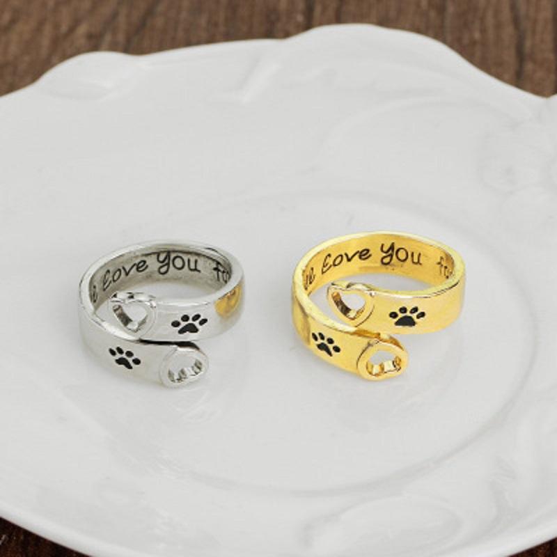 La pata de la impresión del amor del corazón Anillo ajustable Te amaré por siempre los anillos de dedo ajustables para Finger mujeres mejor amigo del animal doméstico joyería del anillo