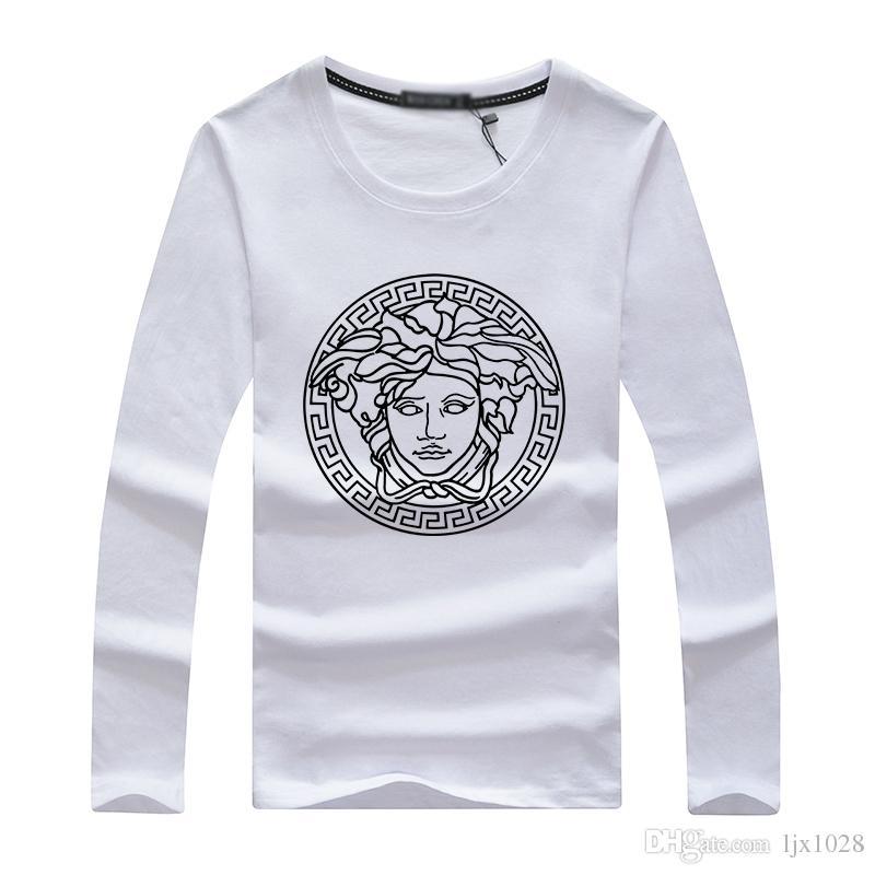 T-shirt a maniche lunghe da uomo, colletto tondo da uomo, abiti larghi, tailleur stile autunno, primer autunnale.