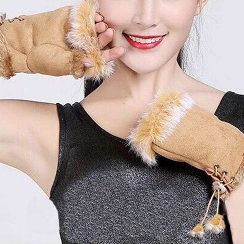 NIBESSER Femmes Gants Sans Doigts D'hiver Gants D'hiver Femme Moufles Douces Invierno Mujer Handschoenen Tricoter Des Moufles De Laine Au Poignet S1025