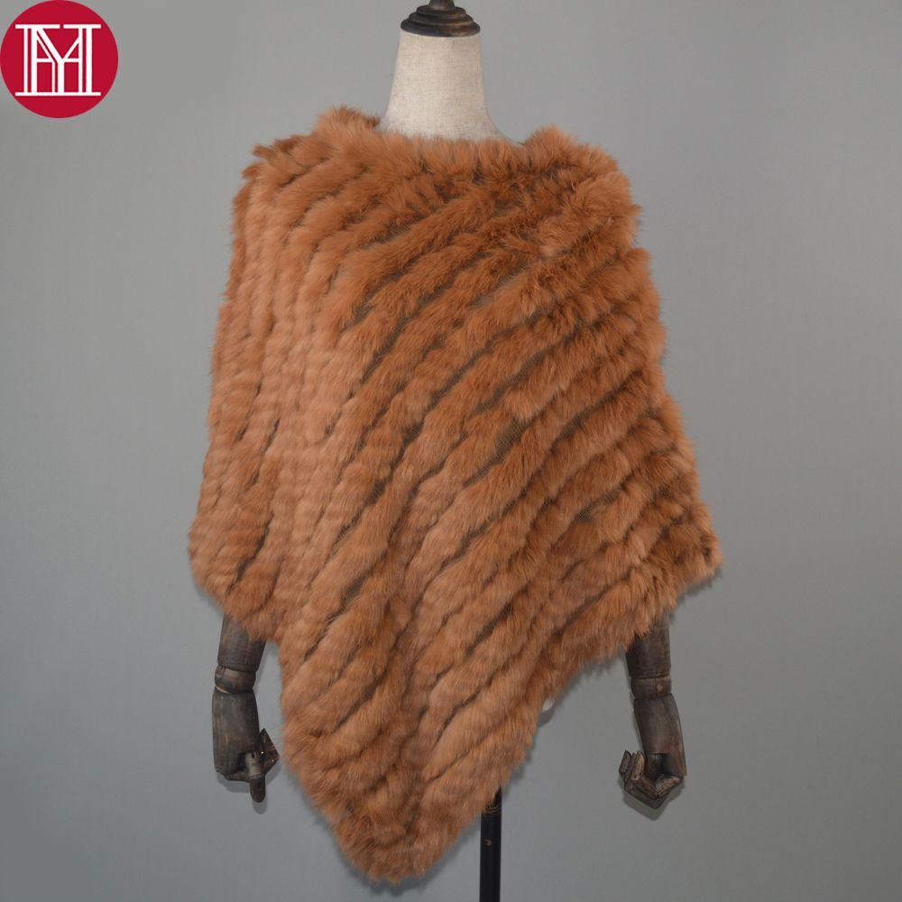 Women Spring Autumn Knit Genuine Real Rabbit Fur Poncho Scarves Real Natural Rabbit Fur Shawl Pashmina Real Rabbit Fur Scarf S18101307