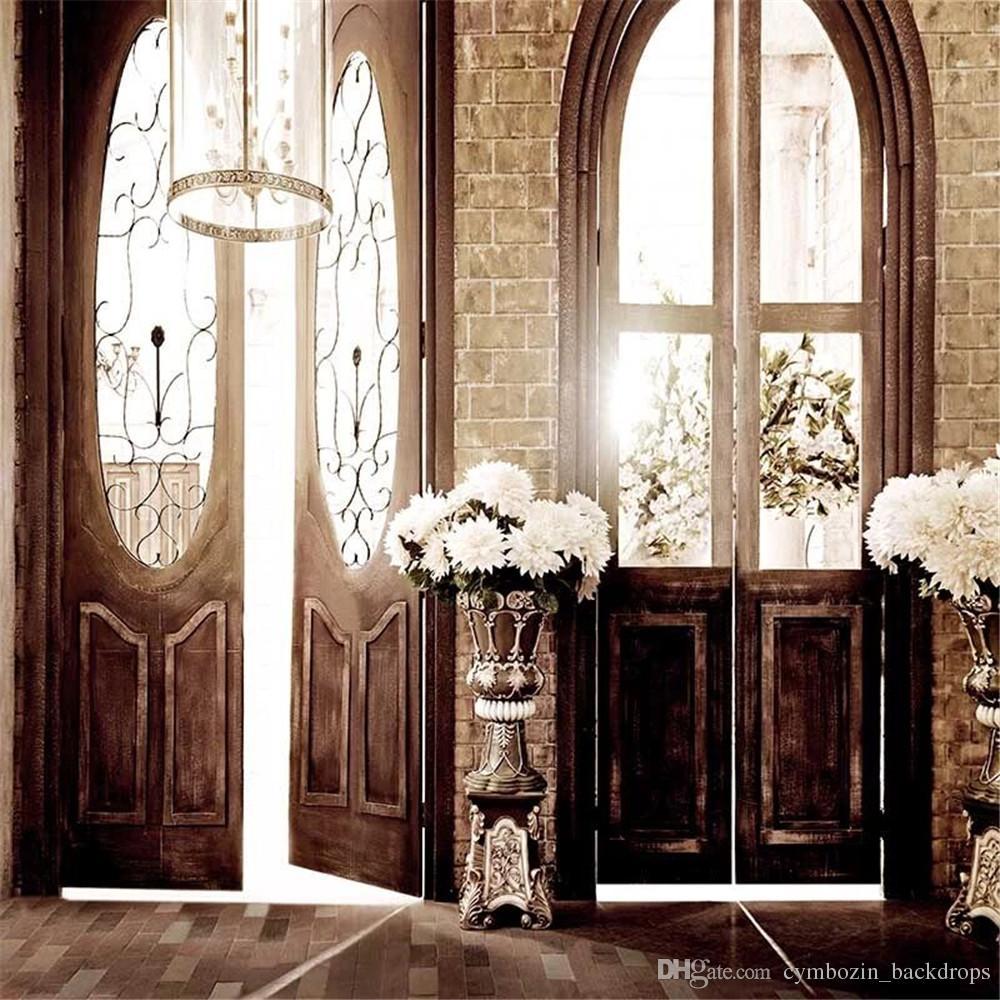 Interior Room Vinyl Photography Backdrops Doors Printed Chandeliers Flowers Retro Vintage Style Wedding Photo Backgrounds for Studio