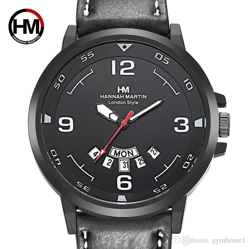 1pcs 2018 nouvelle montre à quartz pour homme calendrier créatif montres de sport en semaine affichage perspective fenêtre bracelet en cuir montre-bracelet 1602