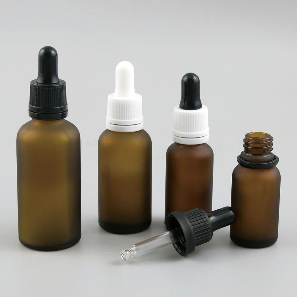 200 x Vacío recargable vacío Amber100ML 50ML 30ML 20ML 15ML 10ML 5ML Dispensador E-líquido Eye Dropper de vidrio para aceites esenciales