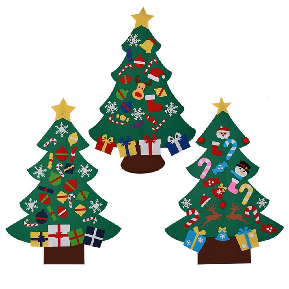 2018 New Year Door Wall Hanging Xmas Decoration for Kids DIY Felt Christmas Tree with Ornaments Children Christmas Gifts