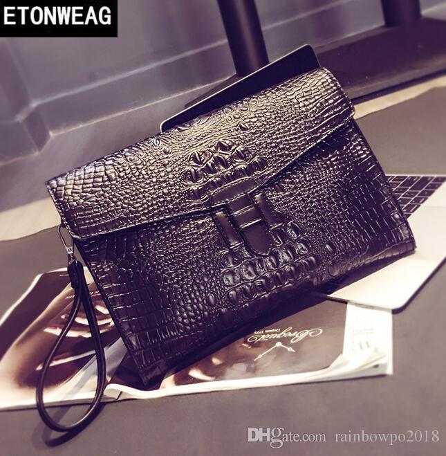 Factory Direct Brand Men Bag Street Crocodile Line Men's Handbag Retro Leather Envelope Handbag Crocodile Line Fashion Slant Shoulder B