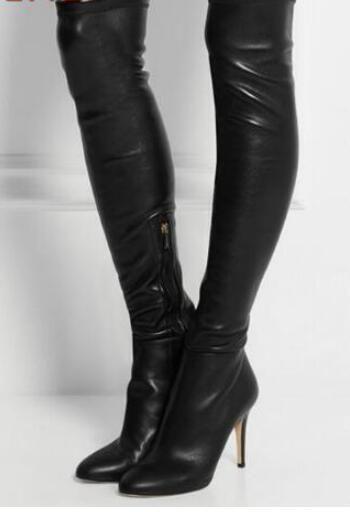 ahorrar d8914 9f6d3 Compre 2018 Botas Altas De Muslo De Mujer Botas Altas De Señora Sobre  Rodilla Botas Negras Botines Largos De Cuero Sexy Botas De Gladiador Muslo  Altas ...