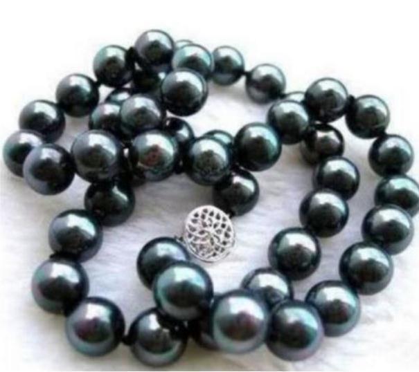8-9mm BLACK natürliche Perlenkette 18 INCH 925 Silber Verschluss