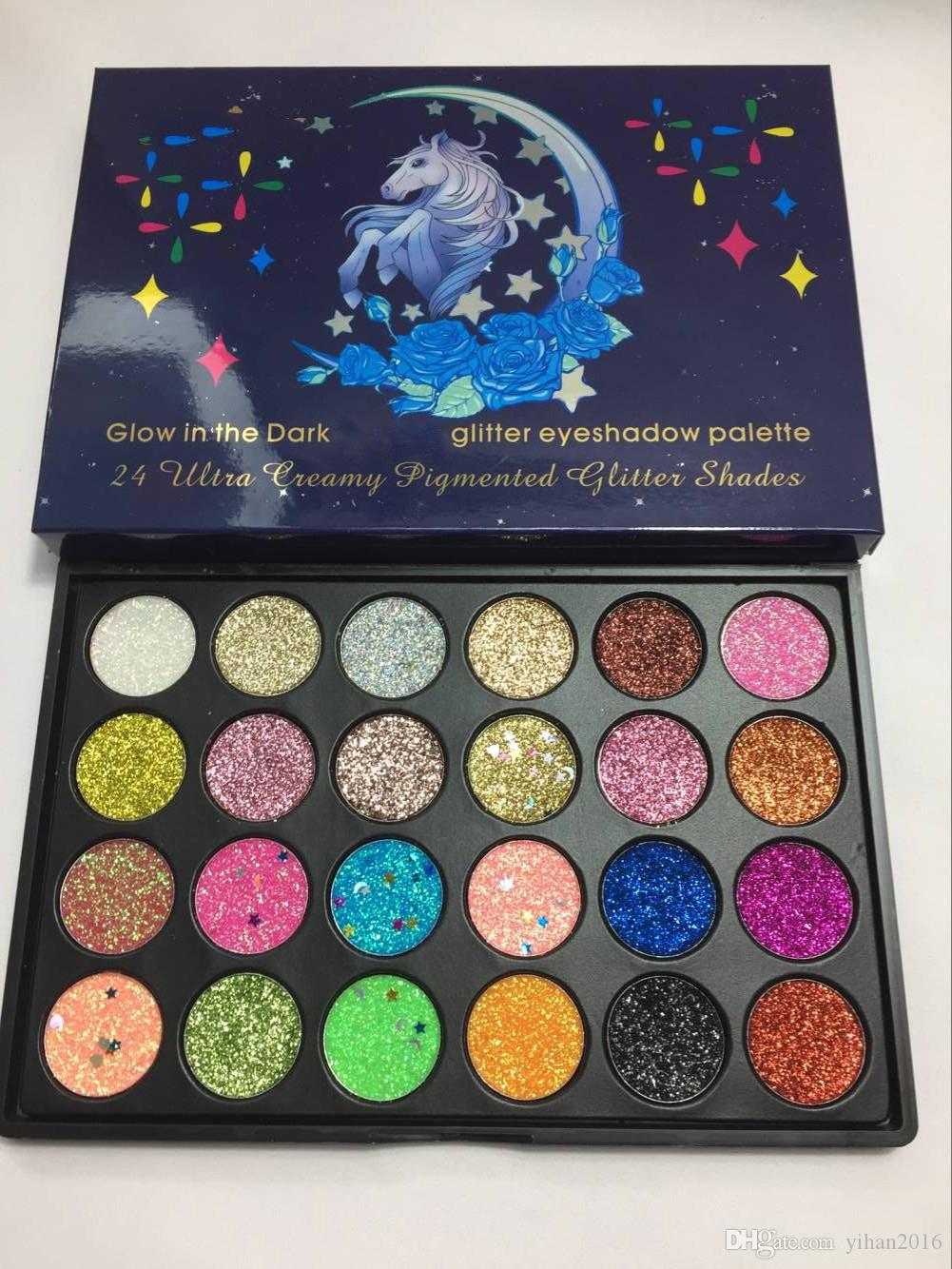 Newest 24 Colors Makeup Glow in the dark magic horse Glitter eye shadow palette Creamy Cosmetics Pigment Glitter Shades best quality