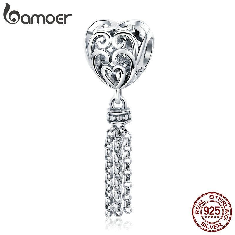 925 Sterling Silver Openwork Heart with Long Tassel Pendant Beads fit Women Charm Bracelets Necklaces DIY Jewelry