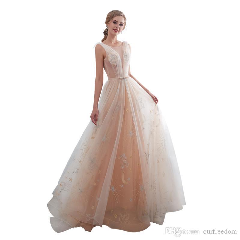 Real Image 2019 Fairy Sheer Jewel Neck Abiti da sposa Sexy Back Una linea in pizzo Tulle Boho Vedi Anche se Beach Abito da sposa Custom Made