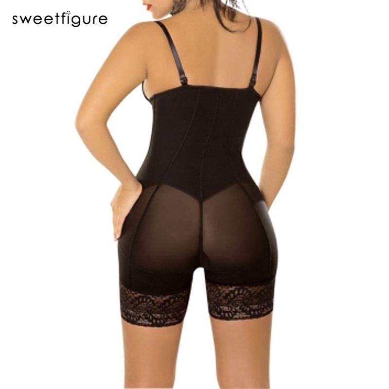 섹시한 엉덩이 리프터 바디 수트 여성 란제리 반바지 레이스 지퍼 슬리밍 바디 셰이퍼 쉐이핑 여성 속옷 한 벌 세트