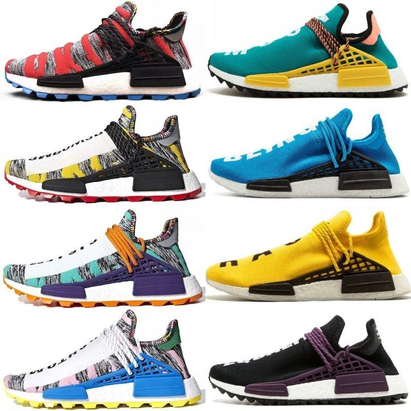 2018 New Human Race X HU Creme x NERD Running Shoes pharrell williams Solar Pack Afro Sun Glow For Men Women sport sneaker