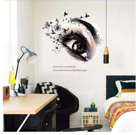 Nouveau Big Eye Art Sticker Mural Salon De Beauté DIY Vinyle Amovible Décor À La Maison Stickers Salon Affiche Sourcils Boutique Decals