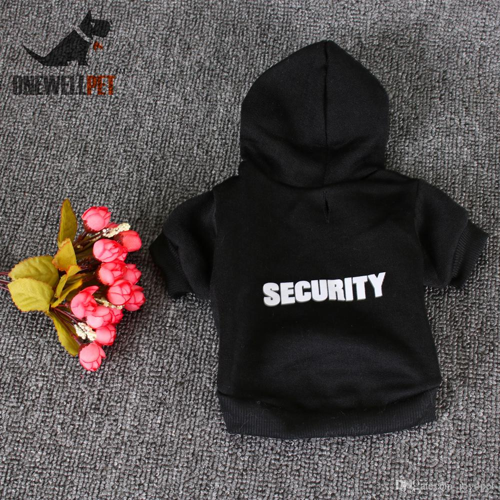 Onewellpet Brand High Quality Black Cotton Hoodie With Hat And English Word Of Security For Teddy And Other Pet Dogs
