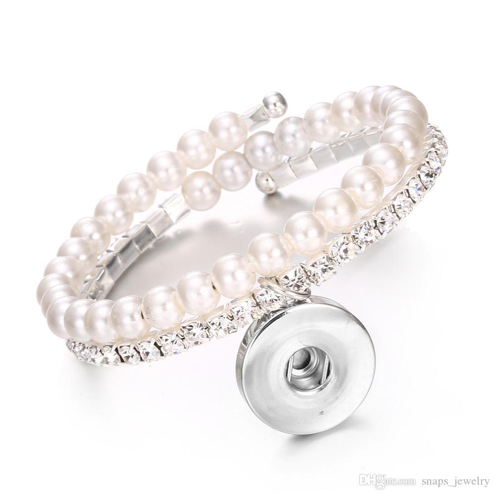 NOOSA Chunks Snaps Jewelry Perla de imitación de metal 18mm Pulsera de botón a presión para las mujeres joyería del botón a presión