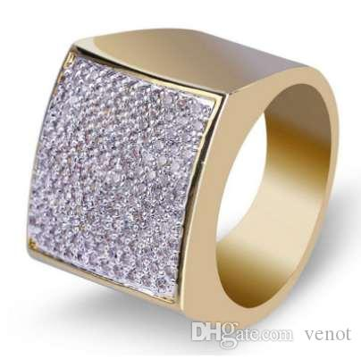 высокое качество модные ювелирные изделия Оптовая хип-хоп рок обледенелое кольцо позолоченные микро проложить CZ камни кольца для мужчин