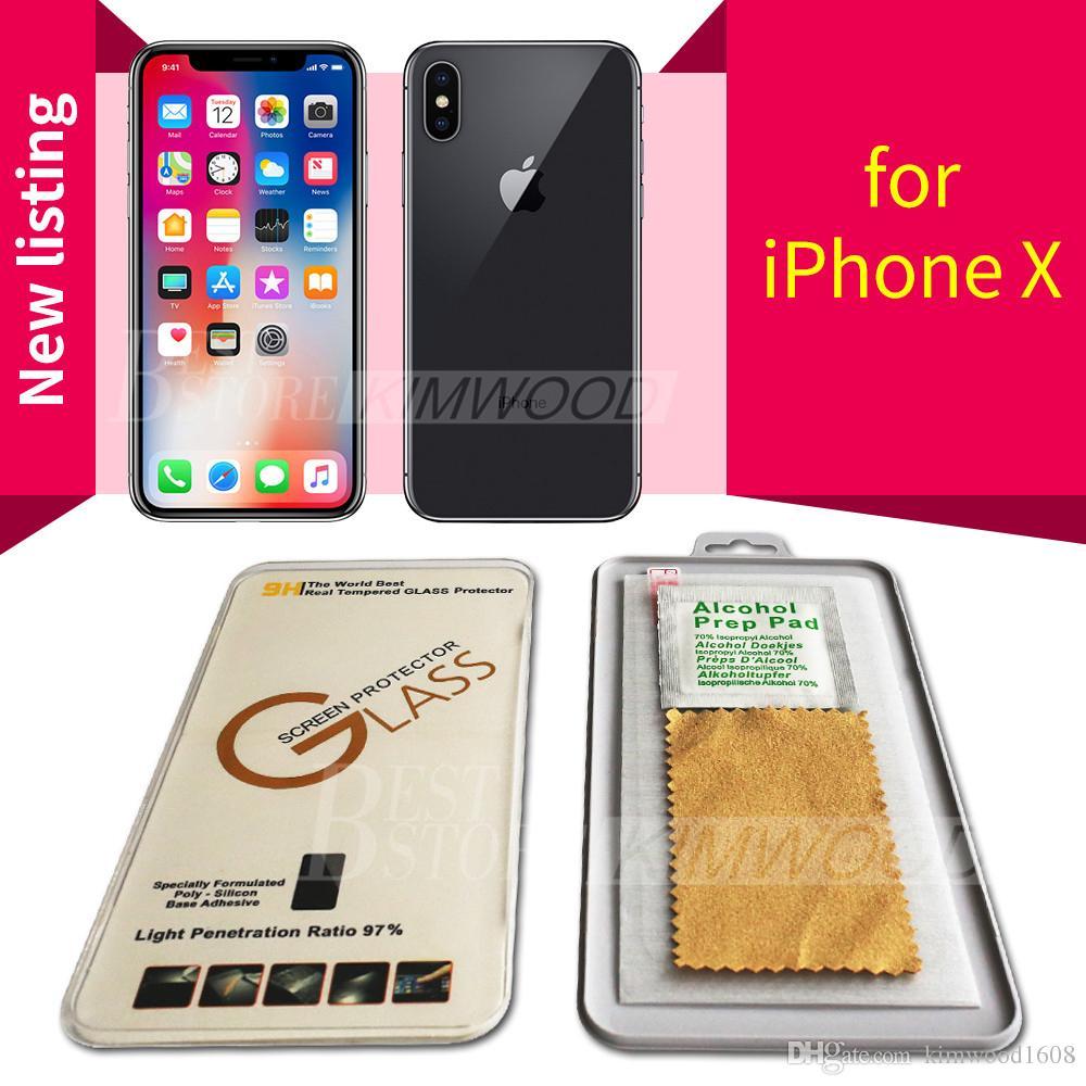 Para NUEVO Iphone XR XS Max Iphone X / 10 8 7 6S Plus Protector de pantalla de película de vidrio templado de alta calidad 9H 2.5D para Galaxy J3 J7 Prime con paquete