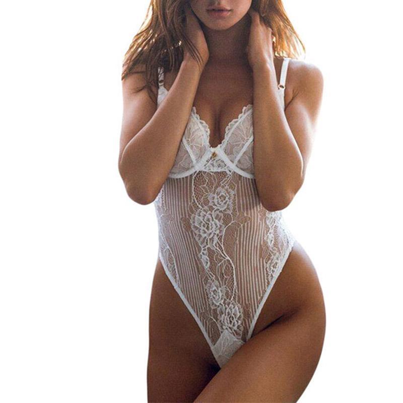 Ropa interior de mujer sexy Teddies blanco íntimo tiras Push Up Lace Mujer Sexy camisón de dormir ropa de dormir ropa interior sin espalda S M L