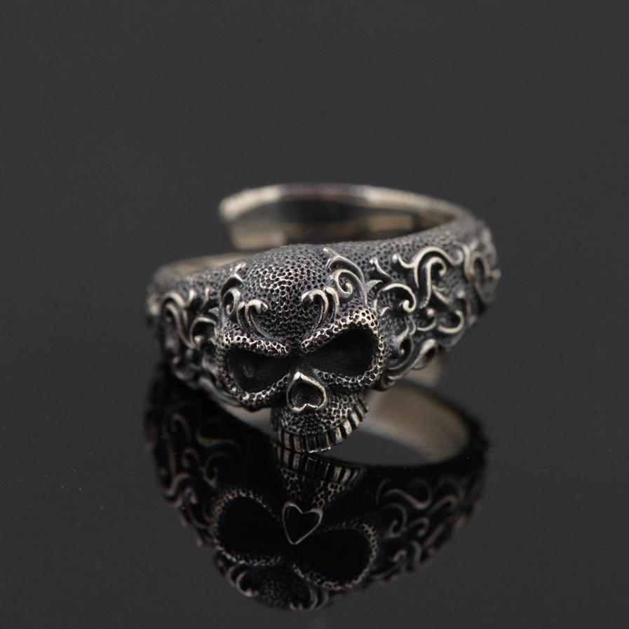 Gothic Punk Skull Rings For Men And Women 925 Sterling Silver Jewelry Resizable Vintage Flower Engraved Skeleton Finger Band D18111306