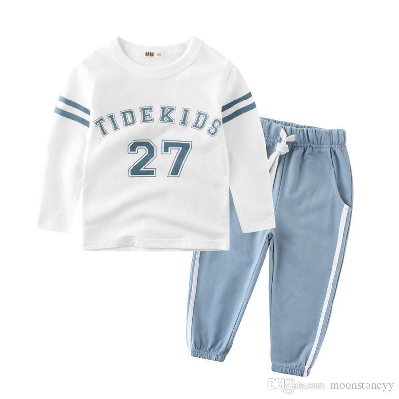 2 adet Erkek Bebek Giysileri Set Uzun Kollu Tişörtü Numarası 27 Tops Yürüyor Çocuk O Boyun Hoodies Uzun Pantolon Rahat Takım Elbise Kıyafetler