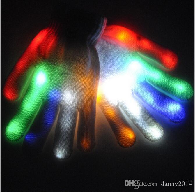 Cráneo LED guantes Festival partido del delirio del guante guante llevó la luz de 7 colores coloridos guantes novely Partido iluminado Puntales Guantes de juguete
