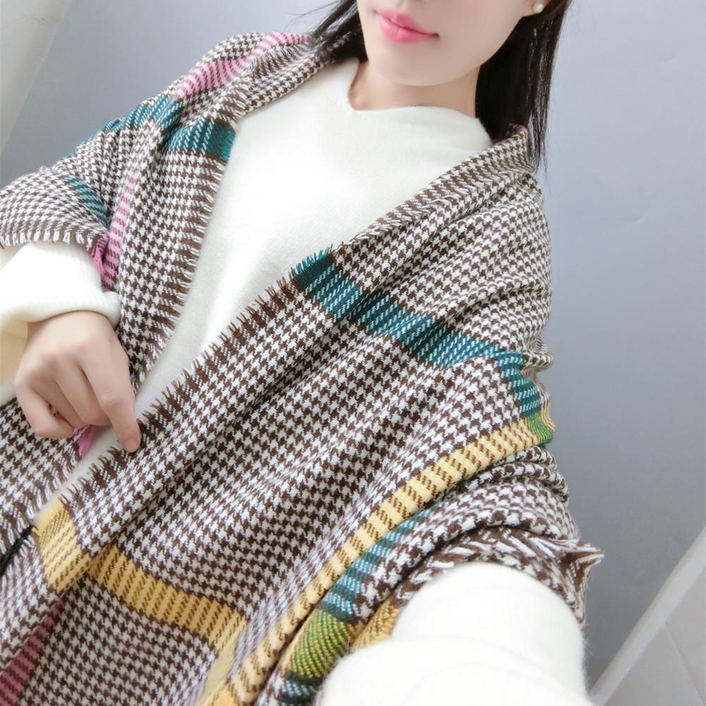 2018 новый F029-1 горизонтальный и вертикальный цвет бар Хаундстут шарф разбросаны небольшой плед контраст шаль мода шарф Оптовая
