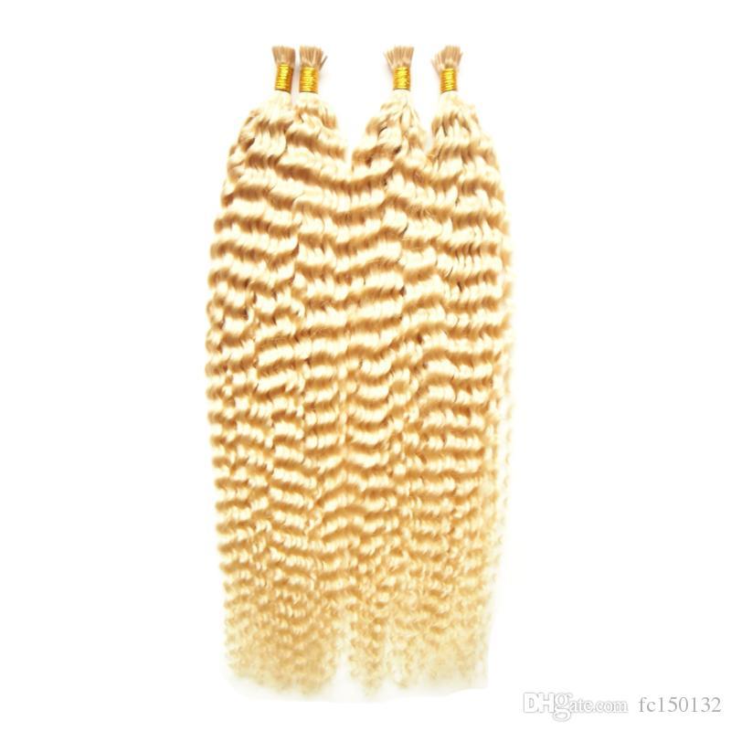 613 блондинка девственные волосы кудрявый вьющиеся я наконечник наращивание волос 200 г / пряди блондинка вьющиеся девственные волосы