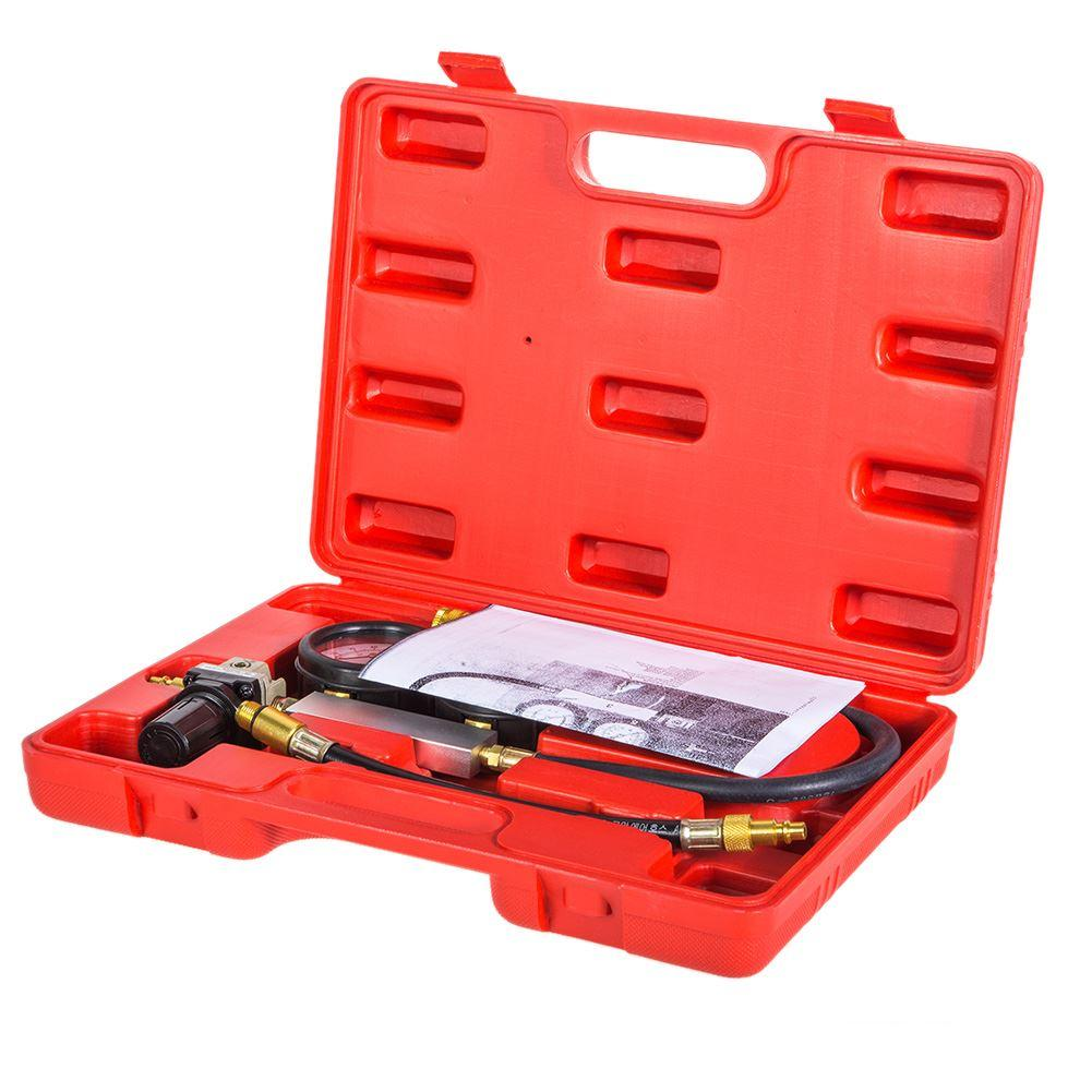 Freeshipping Cylinder leak tester compression leakage detector kit set Pressure Gauge Tool for Petrol Engine of 0-100PSI Double Gauge System