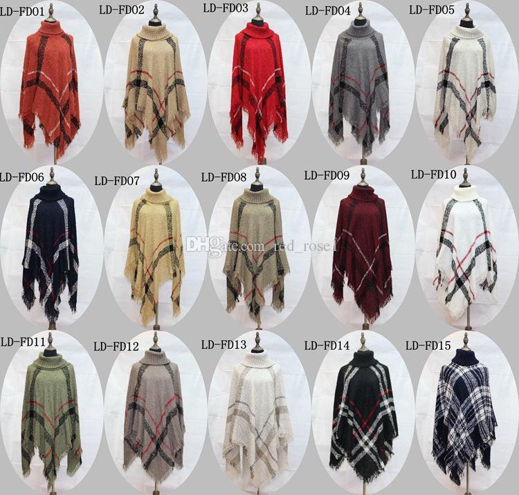 2018 plaid poncho moderskap kvinnor tofs blus stickad kappa tröja vintage wraps knit halsdukar tartan vinter cape grid sjal cardigan kappa