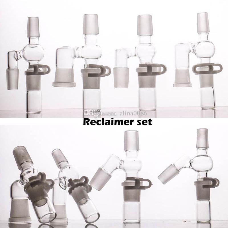 유리 봉유 조작 물 담뱃대 제품에 대한 45/90도 회수 세트 14 18 남성 및 여성 어댑터 완전 휴대용 디자인 액세스 리오