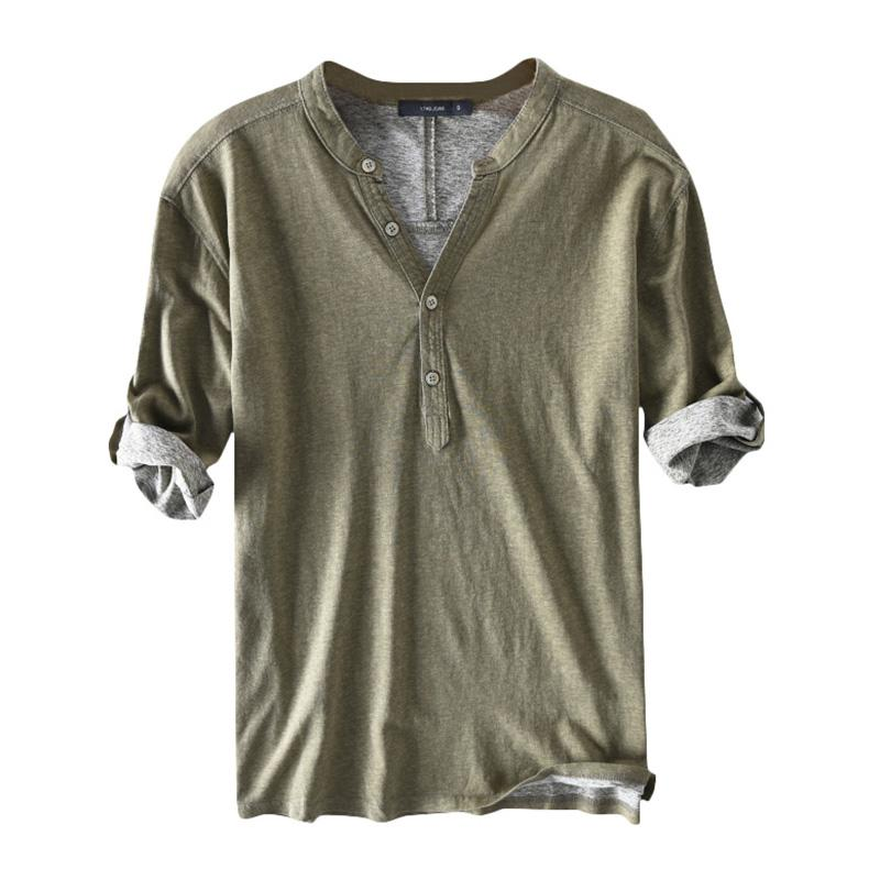 ارتفاع quaity القمصان اللباس الرجال 100٪ ٪ نصف كم هينلي طوق الخامس الرقبة الصلبة الخريف عارضة القمصان هومبر camisa الرجال الملابس