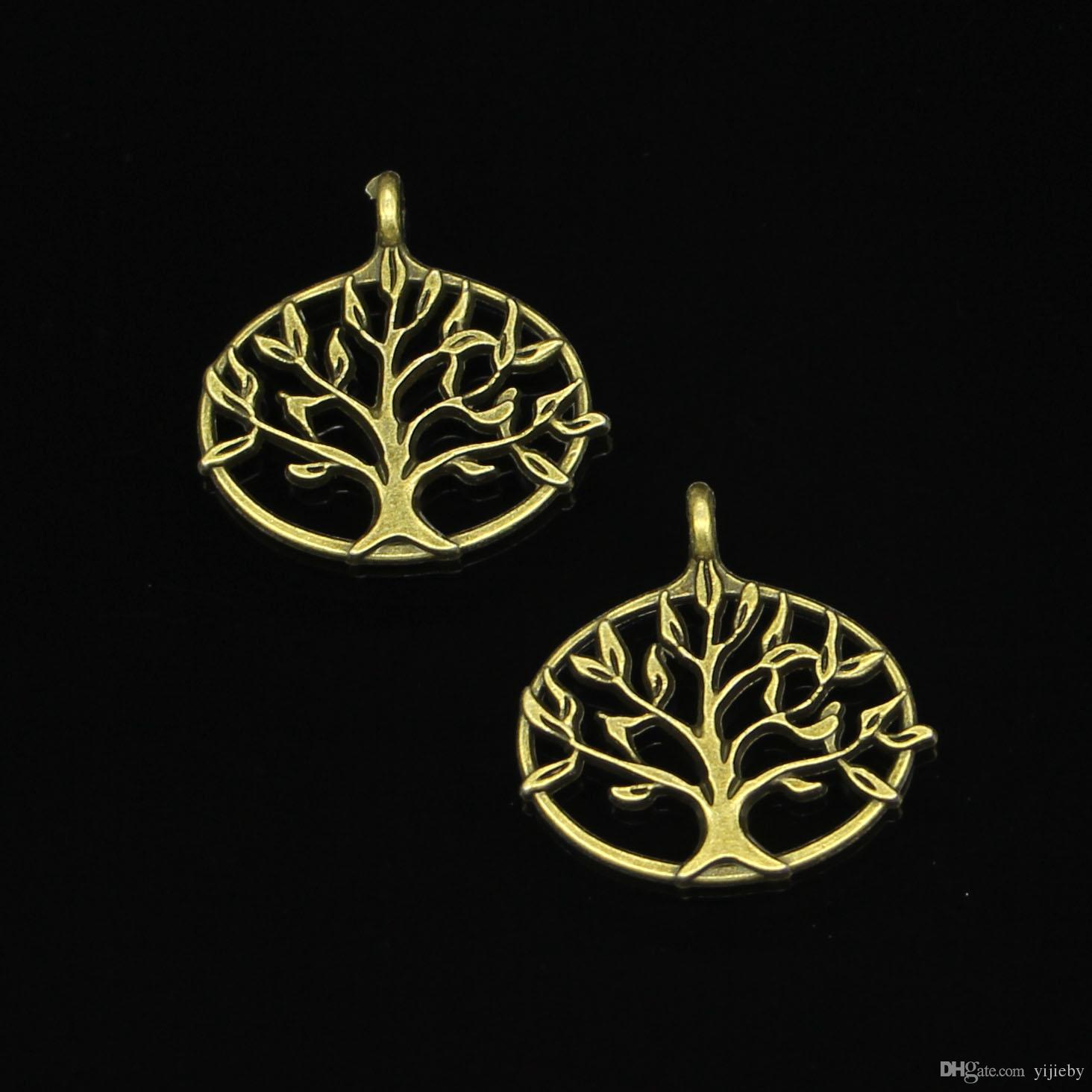 41pcs Antique Bronze Plated peace tree Charms Pendant fit Bracelet Necklace Jewelry DIY Making Accessories 27*27mm