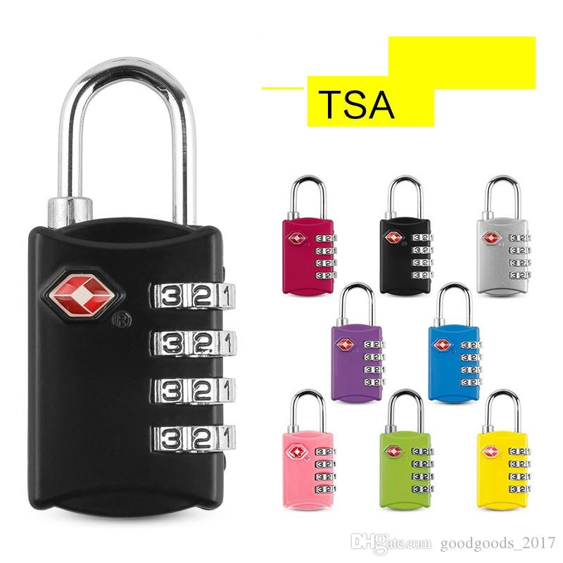 4 Digit Combination Padlock TSA Lock Luggage Suitcase Travel Bag Code Lock Black red yellow blue Alloy Combination Lock 6.65*2.9cm mk520