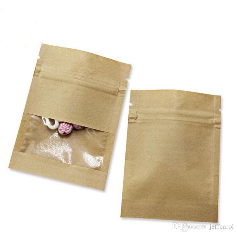 투명 창 차 커피 스낵 캔디 식품 보관과 파우치 지퍼 7X9cm 작은 두꺼워 화이트 브라운 크래프트 종이 가방