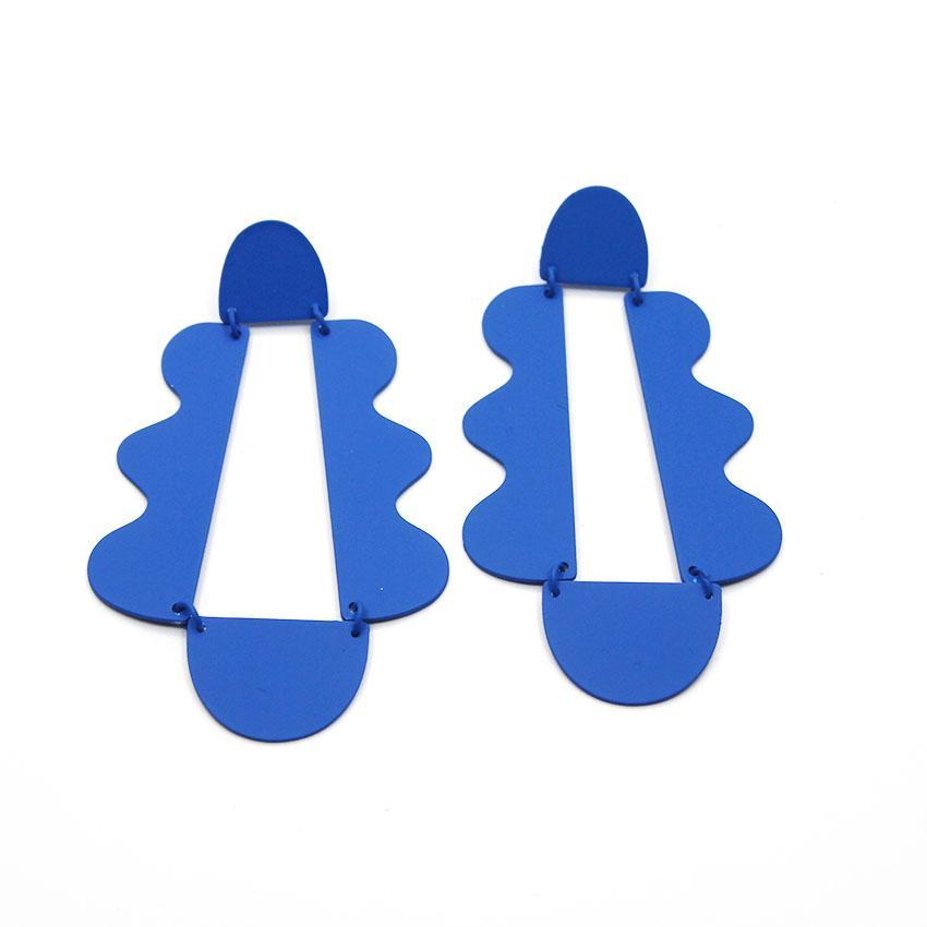 Estrela Zhao Wei mesmo parágrafo brincos azuis exagerados cair brincos coreano personalidade temperamento selvagem brincos 896