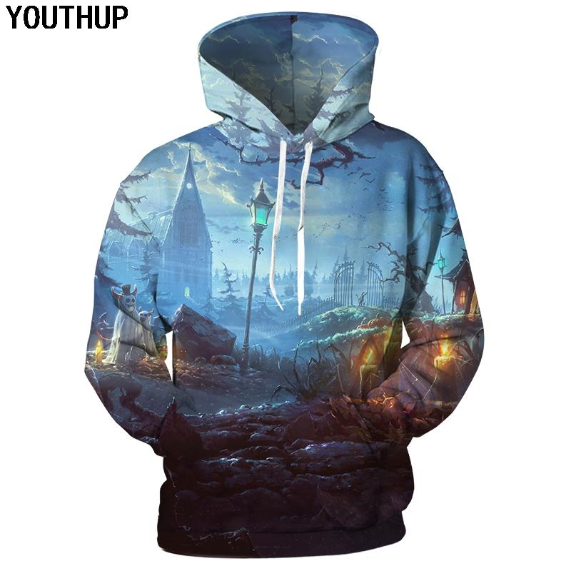 YOUTHUP 2018 Halloween 3d Hoodies Hommes Femmes Hoodies À Capuche Sweatshirt 3d Imprimer Mode Cool Hip Hop Pull Outwear Plus La Taille