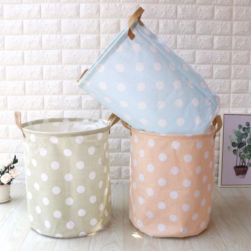3pcs/lot Folding Nordic Style Cotton Linen Fabric Laundry Basket Household Sundries Organizer Kids Toys Storage Pouch 35x40cm