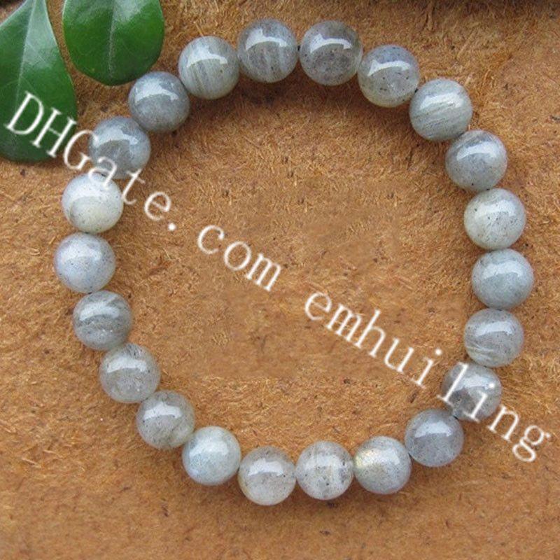 10Pcs Labradorite Crystal Bracelet 8mm Gray Moonstone Blue Flash Round Beads Healing Energy Bracelets Spectrolite Wrist Bracelet Anti Stress