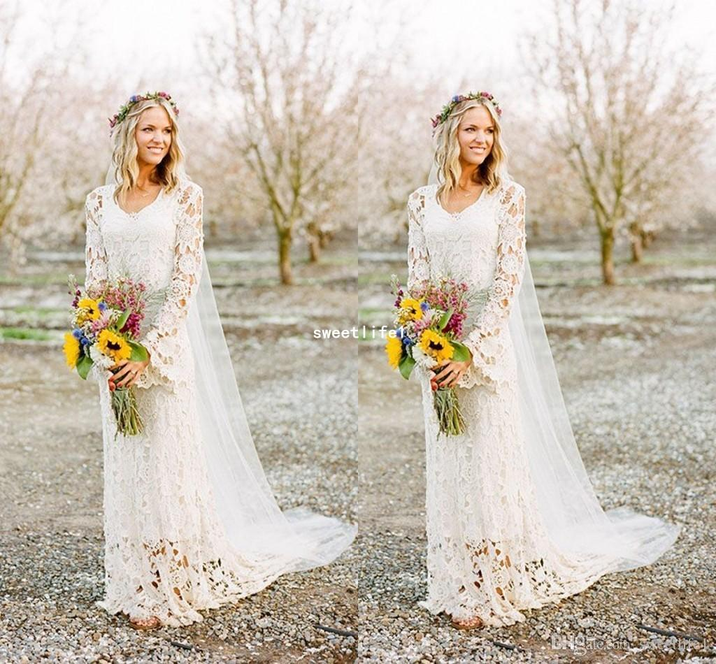 2019 Romantic Boho Style Long Sleeve Wedding Dresses O Neck A Line Full Lace Country Style Bridal Gown Custom Made Photos Of Wedding Dresses Simple