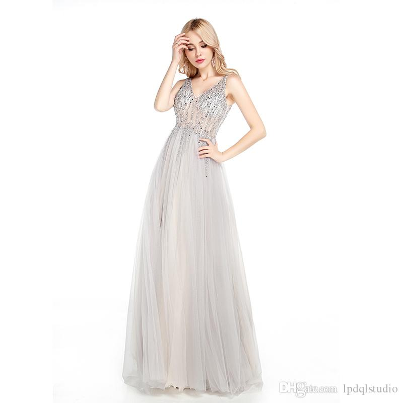 Evening Dress New Arrival Sexy Silver Gray Long Prom Dresses Soft Tulle with Beading Sequins Zipper Back Runway Gowns