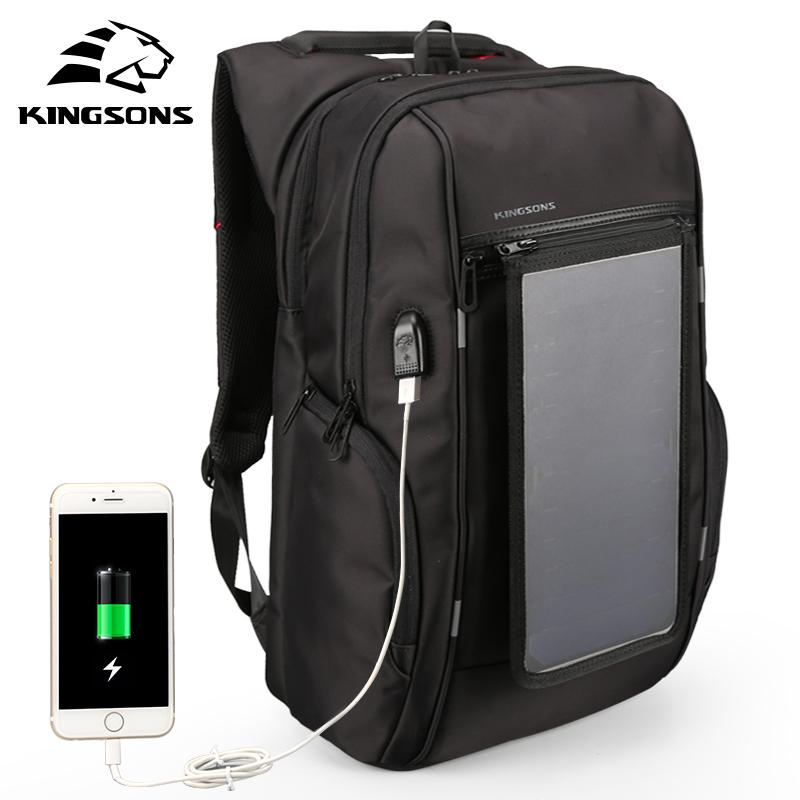 Kingsons 2018 Solar Panel Backpacks 15.6 inches Convenience Charging Laptop Bags for Travel Solar Charger Daypacks molica