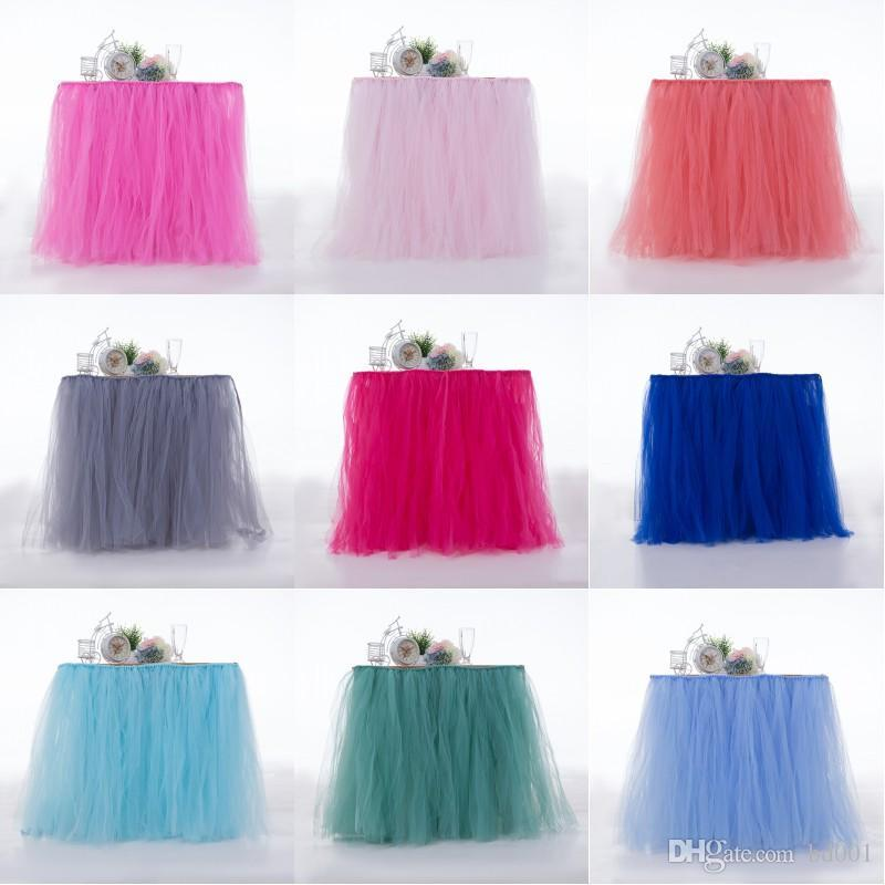 Colorful Tutu Table Skirt Easy To Clean Resuable Tables Skirts For Baby Shower Birthday Party Wedding Decor Ornament 45mr BB