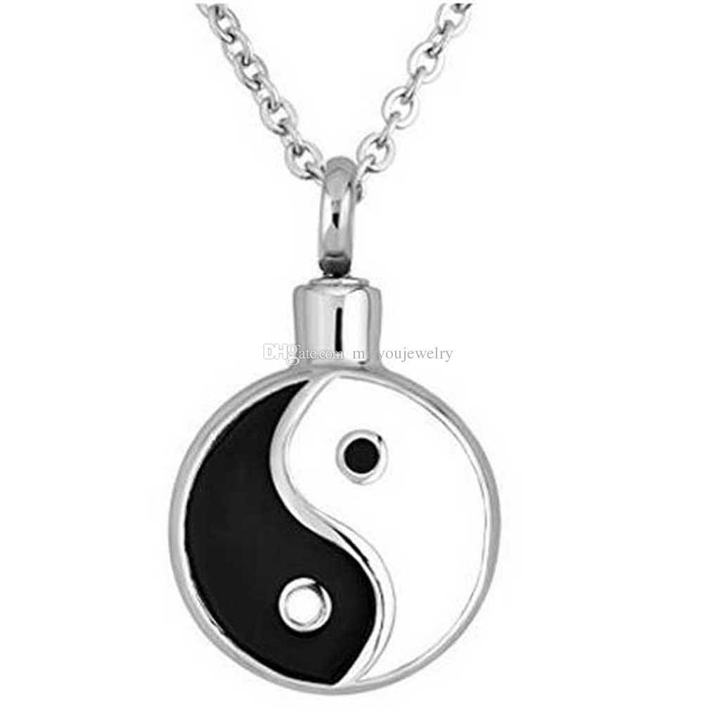 Tai Chi Yin Yang Urne Colliers Pour Crémation Cendres Memorial Pendentif En Acier Inoxydable Pendentif Hommes Femmes Maman