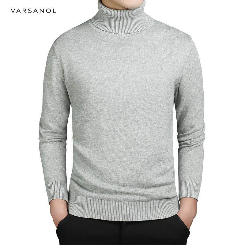 Varsanol brand new عارضة الياقة المدورة سترة الرجال البلوفرات الخريف أزياء نمط سترة الصلبة يتأهل تريكو كم كاملة معطف s917
