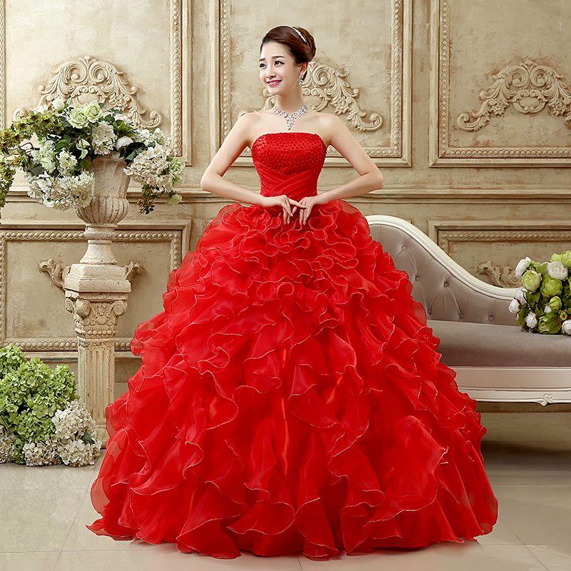 Acheter Rouge Blanc 2018 Robe De Mariage Princesse Bling De Luxe Poires Blanc Robe De Bal Robe De Mariage Fait Sur Mesure Robe De Noiva De 67 34 Du