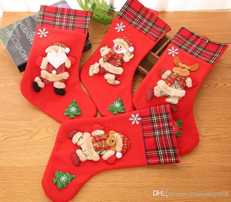 (10 шт.)горячая Оптовая новый рождественский чулок украшения подарки мешок отель украшенные большой рождественский чулок подарок мешок