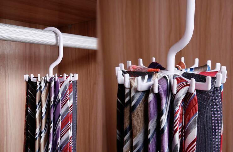 Tie Rack Belt Holders Tie Racks Organizer Hanger Closet 20 Hooks Rotating Men Neck Ties Housekeeping Organization black white
