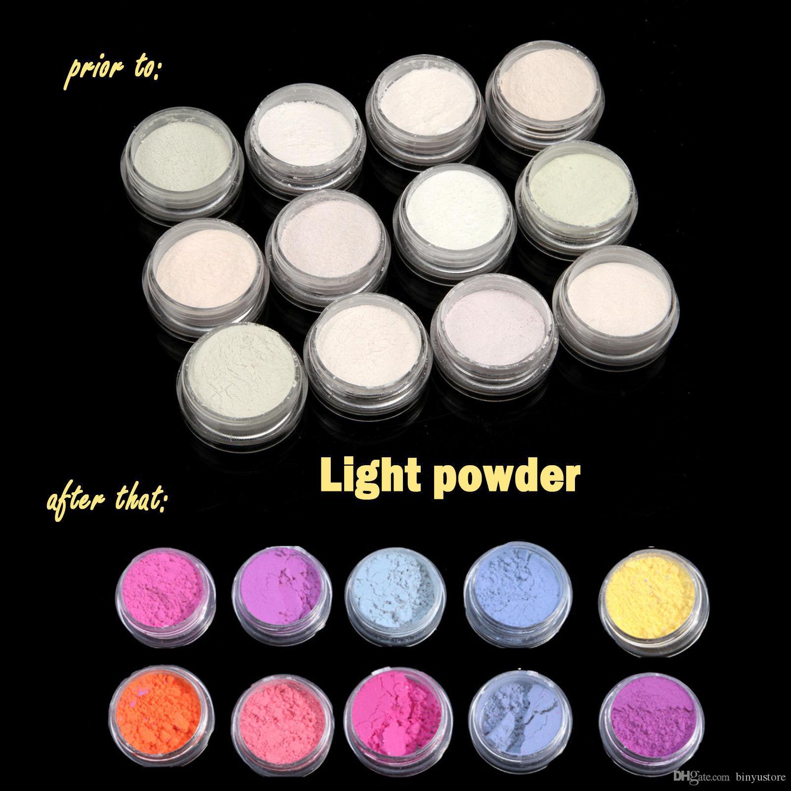 Hot sale 12 Mix Colors UV Light Photochromic Pigment Nail Powder Color Changing Decoration