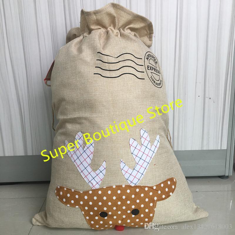 Free shipping fast delivery burlap burlap santa sack Mixed styles hot selling Christmas santa sacks kids gift candy bags