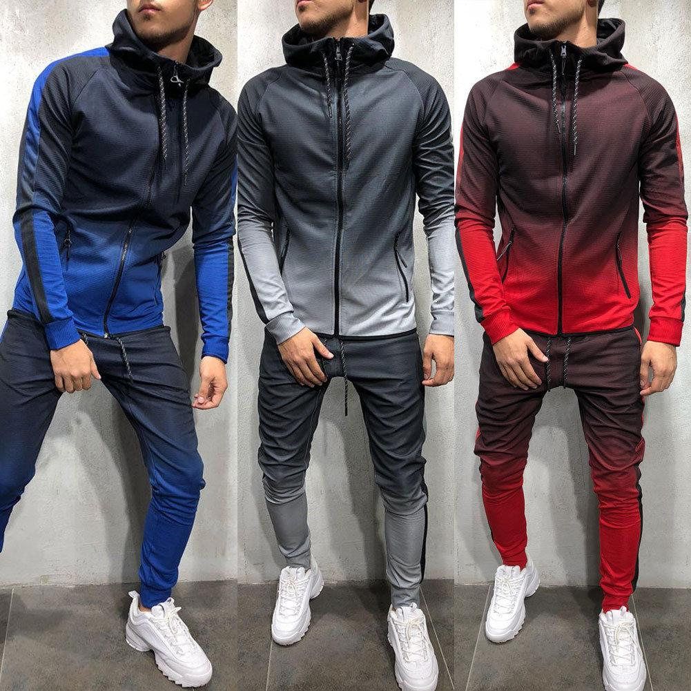 Fashion Mens Tracksuit Set Hoodies Tops Bottoms Joggers Gym Trackies Jogging UK